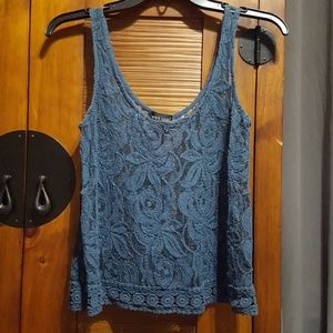 Sheer Dark Turquoise Lace Top